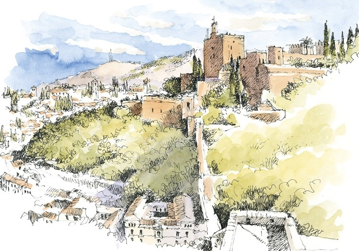 Postal La Alhambra. Vista general