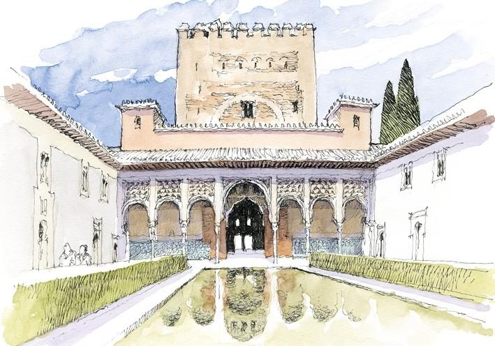 Postal La Alhambra. Patio de los Arrayanes
