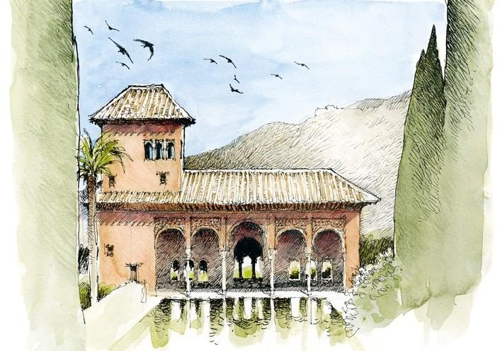 Postal La Alhambra. El Partal