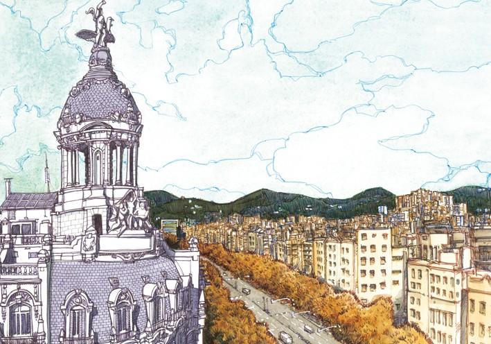 Postal El Paseo de Gracia desde la Bolsa de Barcelona